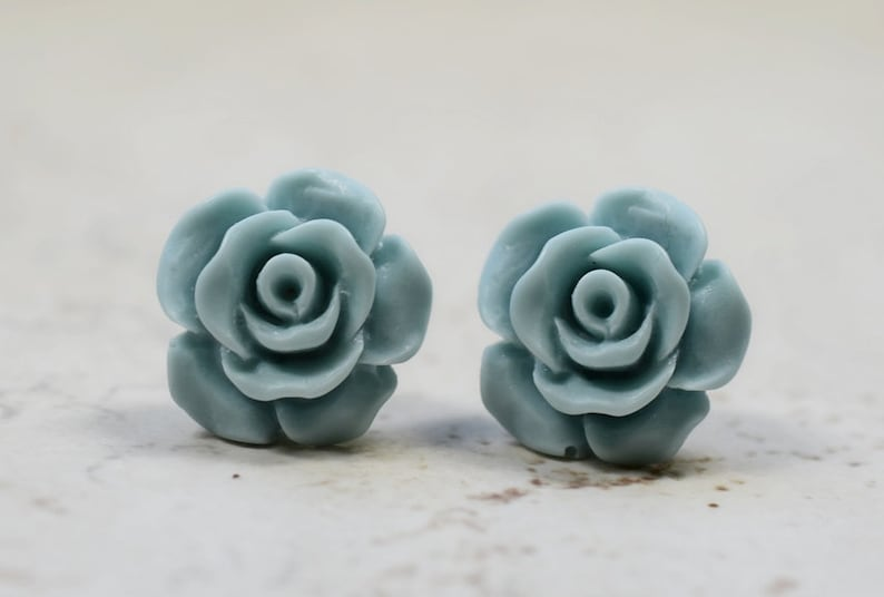Mist Blue Bridesmaids Earrings Cottage Chic Roses Vintage Inspired Wedding Jewelry Mint Blue Icy Pale Blue Studs Garden Weddings