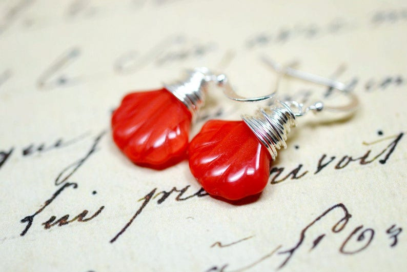 Red Sea Shell Earrings Seashell Drops Cayenne Red Wire Wrap image 0