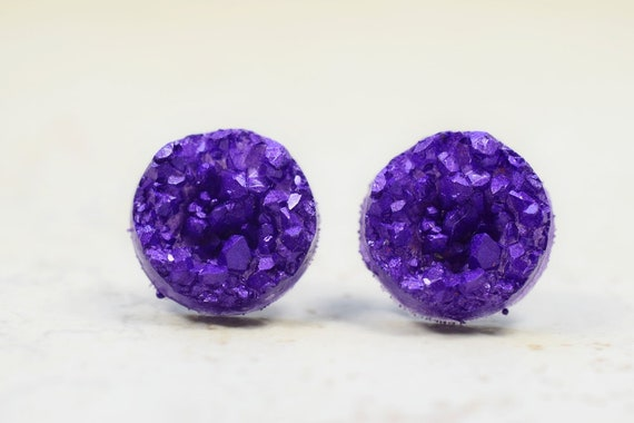d8dd39faeba86 Deep Purple Druzy Earrings, 12mm Purple Faux Druzy Cabochons Stainless  Steel, Sparkly Violet Geometric Posts Circle Studs