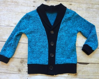 Blue 3T Grandpa Cardigan with Black Ribbing and Buttons