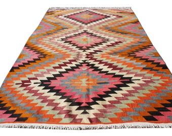 In Quality Türkischer Handgewebt Rechteck Wolle Geometrisch Design Boho Kelim Teppich Excellent