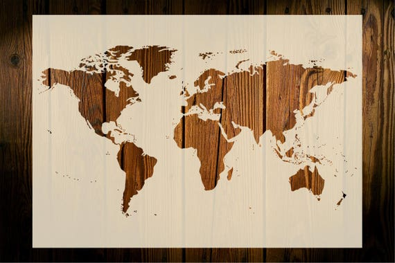 World map stencil art crafts wall decor wood signs painting gumiabroncs Gallery