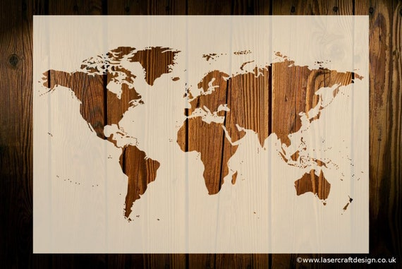 World map stencil art crafts wall decor wood signs painting gumiabroncs Image collections