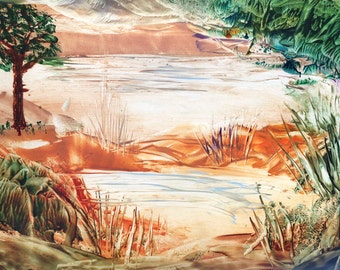 Sheltered Pool: Unique and Original Encaustic Wax Painting