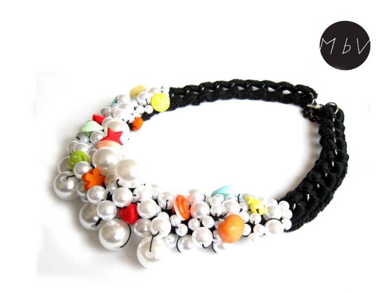 Bib necklace Braided necklace Chunky necklace Pearl necklace Statement necklace Black necklace necklace for women Beaded necklace
