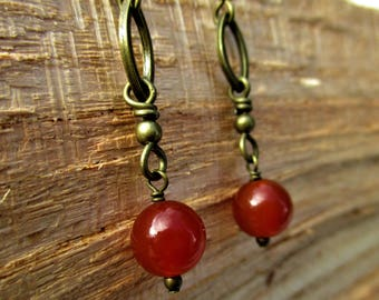 Antiqued Brass Ovals and Carnelian Drop Earrings
