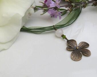 Bronze Plumeria and Green Organza Ribbon Necklace