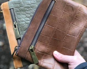 Misikir Wristlet, Crocodile Patterned Leather, BROWN