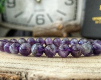 Purple Amethyst bracelet, Purple Amethyst beaded bracelet, 8 mm purple Amethyst, High graded Amethyst, Men and women jewelry bracelet