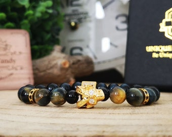 Skull gift bracelet, Skull bracelet, Gift bracelet, Gold bracelet, Men's gift, Gift for men, Beaded gift bracelet