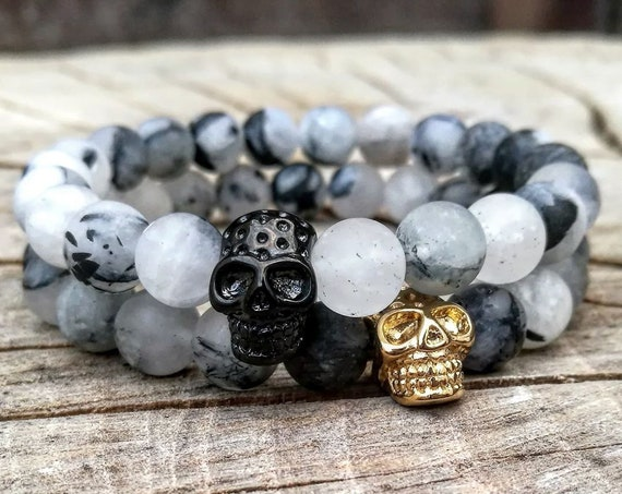 Bracelet for men, Skull bracelet for men, Golden skull bracelet, Black skull bracelet, Gift bracelet for him and her