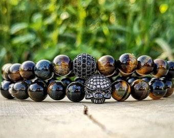 Mens bracelet, Mens combo bracelet, Mens skull bracelet, Mens beaded bracelet, Mens tiger eye bracelet, Mens gift bracelet, Gift for him