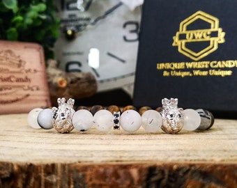 Beaded lion bracelet for men and women, Silver lion bracelet, 8 mm Matte beaded bracelet with lions, Perfect gift for him and her
