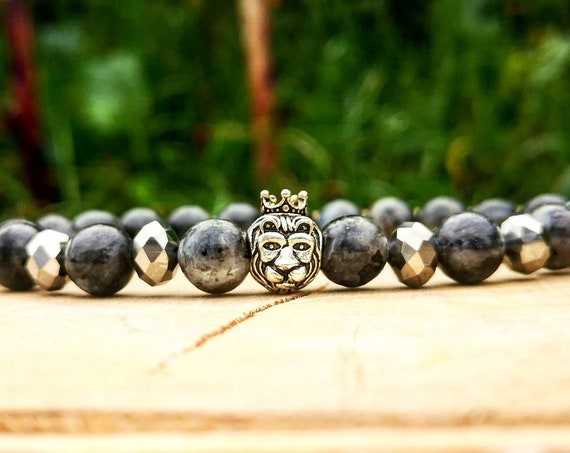 Grey lion bracelet, Mens bracelet, Animal bracelet, Lion king, Bracelet for him and her, Gift bracelet, Bracelet homme, Gift