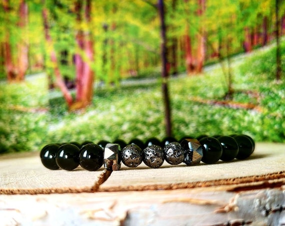 Swarovski bracelet for men and women, Lava stone bracelet, Black beaded bracelet, Gift for him and her