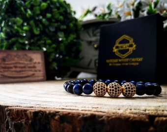 Christmas luxury gift bracelet, Blue tiger eye beads, Gift for men and women, New years gift, Bracelet for him and her