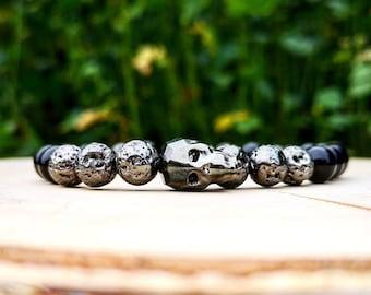 Black swarovski skull bracelet, Swarovski combo, Black bracelet, Men's gift, Gift for men, Gift for women, Gift for holiday, Birthday gift