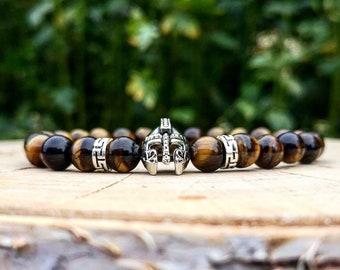 Helmet bracelet for men, Warrior gift for him, Yellow tigers eye beads, Gift for men, Power bracelet