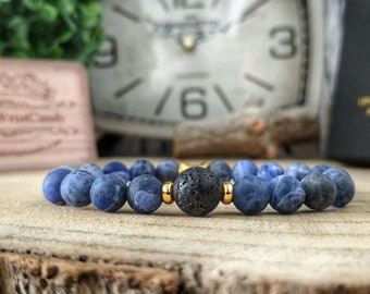 Sodalite bracelet for men, Beaded bracelet for him, Mens gift bracelet, 8 mm Matte blue sodalite beads, Gift bracelet for husband