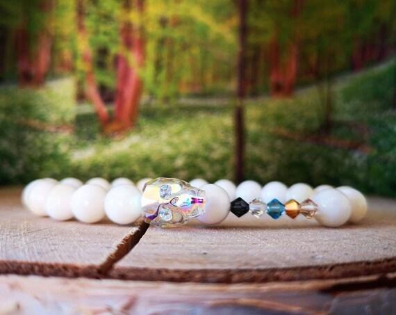 White Swarovski skull bracelet, Gift bracelet, Bracelet for men and women, Gift for him and her, Beaded bracelet for him and her