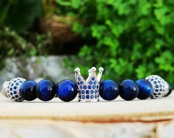 Blue crown bracelet, Luxury bracelet, Crown jewels, Jewelry for men, Jewelry for women, Luxury gift, Gift for him and her