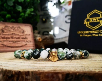 Golden viking helmet bracelet with 8 mm Tree agate beads, Perfect gift for him, Mens beaded bracelet, Stretch bracelet for men
