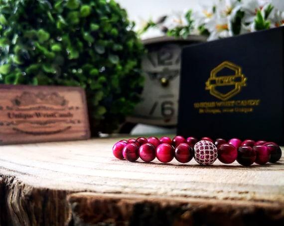 Pink stretch bracelet, Womens beaded bracelet, Gift for her, Pink zircon, Luxury bracelet for her, Perfect gift, Gift ideas