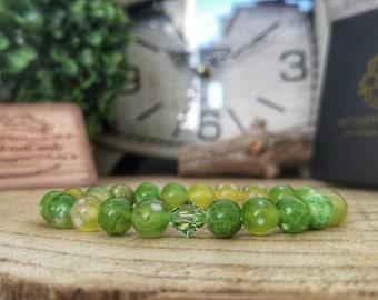 Swarovski Peridot bracelet, Green dragon vein feite agate bracelet, Gift for her, Swarovski jewelry, Green swarovski, Gift ideas