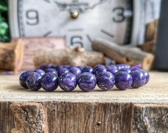 Purple Charoite 10mm bracelet, Bracelet for men and women, High graded purple beaded bracelet, Birthday gift