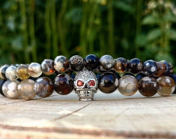 Brown skull bracelet combo, Brown beaded jewelry for men and women, Bracelet for men and women, Gift for him and her, Birthday gift