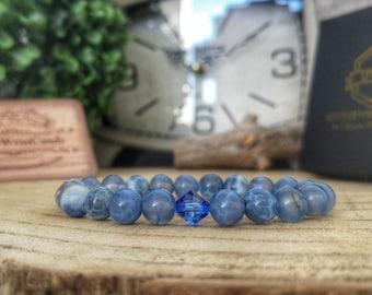 Swarovski Sapphire bracelet, Dragon vein agate bracelet, Gift for her, Swarovski jewelry, Blue Swarovski, Gift ideas