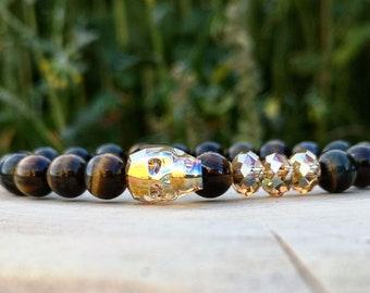 Swarovski skull bracelet, Swarovski bracelet for men, Beaded bracelet for men, Tiger eye beaded bracelet, Bracelet for women, Gift for him
