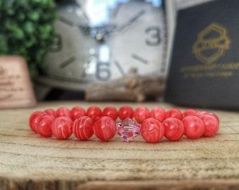 Swarovski Light Rose bracelet, Argentina Rhodonite bracelet, Gift for her, Swarovski jewelry, Rose Swarovski, Gift ideas