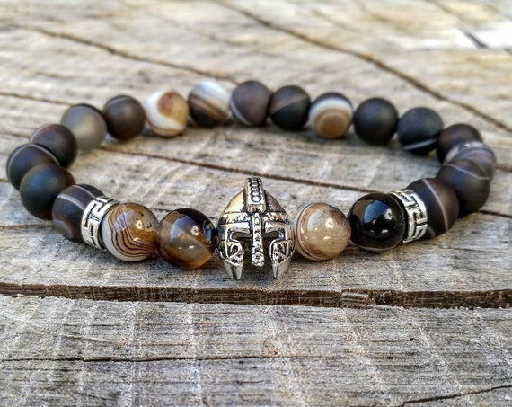 Men helmet bracelet, Gladiator bracelet, Spartan helmet bracelet, Viking bracelet, Men's bracelet, Beaded bracelet, Warrior bracelet