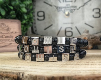 Personalized beaded bracelet, Custom made beaded bracelet, Name bracelet, Love bracelet, Personalized gift father or mother, Gift ideas