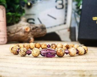 Swarovski scarab bracelet, Amethyst Swarovski, Bracelet for men and women, Swarovski beaded bracelet, Gift for him and her