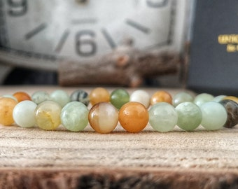 Multi color Jade bracelet, 8 mm Jade bracelet, Bracelet for women, Beaded gift for her, Green beads, Orange beads, Gift jewelry for her
