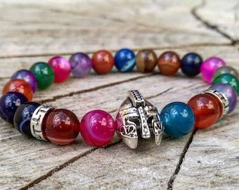 Mens viking bracelet, Multi beaded bracelet, Gladiator bracelet, Spartan bracelet, Beaded bracelet, Viking jewelry, Multi viking bracelet