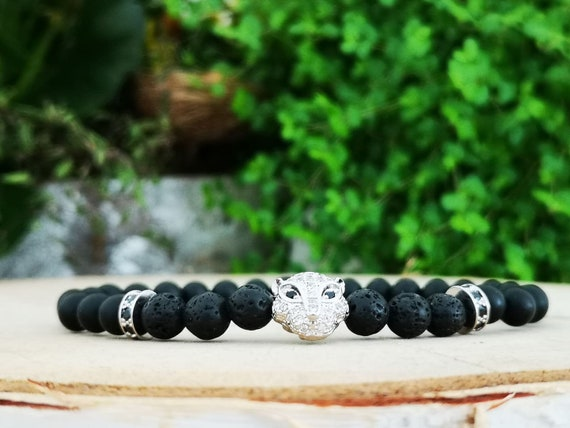 Panther bracelet for men and women, Lava beaded bracelet, Gift for him and her, 6mm Lava beads, Zircon panther
