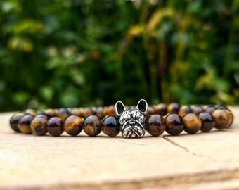 Bulldog bracelet, Dog bracelet, Animal bracelet, Bracelet for men and women, Birthday gift, Gift for him and her, Beaded bracelet