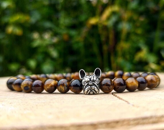 Bulldog bracelet, Dog bracelet, Animal bracelet, Bracelet for men and women, Birthday gift, Gift for him and her, Beaded bracelet