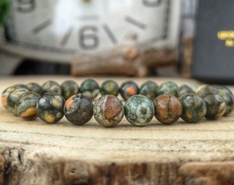 Green rainforest jasper bracelet, 8 mm Green jasper, Green jewelry, High graded Jasper, Beaded bracelet for him and her, Gift for him