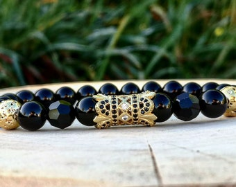 Golden bracelet for men and women, Black Swarovski bracelet, Gift bracelet unisex, Luxury jewelry for men, Gift for him and her