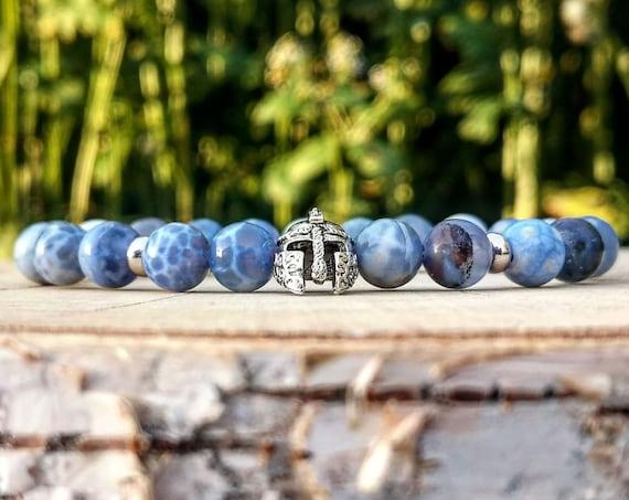 Mens helmet bracelet, Viking bracelet men, Helmet blue dragonvein bracelet, Be a Warrior, Gift for men and women