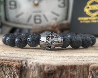 Crystal skull bead bracelet, Swarovski skull, Swarovski jewel, Lava bracelet, Gift for him, Gift for her, Gift ideas