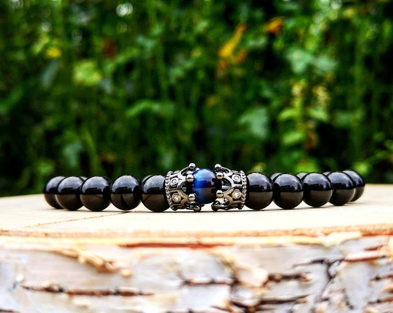 Her king bracelet, Bracelet for him, Crown bracelet, Gift bracelet for him, Black bracelet, Black crown bracelet, Blue bracelet