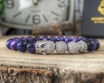 Silver crown bracelet, Crown bracelet for men and women, Zircon crown bracelet, Purple tigers eye bracelet for him and her