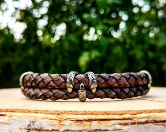 Leather bracelet for men, Claw bracelet in leather for men, Gift for him, Jewellery for men