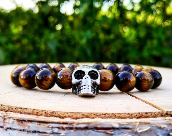 Skull bracelet for men and women, Yellow tiger eye stretch bracelet, Birthday gift bracelet for him and her, Stainless steel