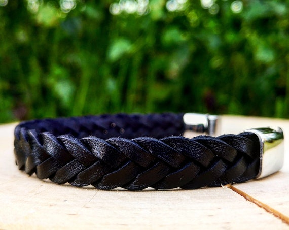 Braided leather bracelet for men, Magnetic clasp, Leather bracelet, Gift for men, Black leather bracelet